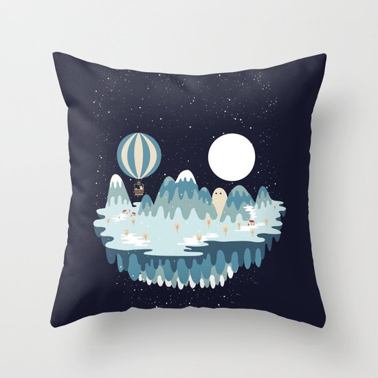 Winter skull Throw Pillow
