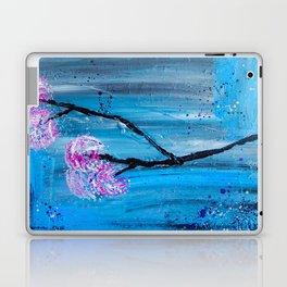 Contemporary Japanese Flower Branch on Blue Laptop & iPad Skin