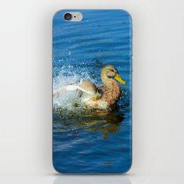 Enjoyment of life! Duck has fun in the water! iPhone Skin
