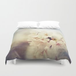 White Poppy Grudge Duvet Cover