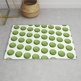 Green Limey Limes on White Rug