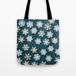 Frosted Gingerbread on Winter Night Sky Tote Bag