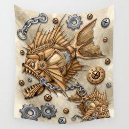 Steampunk Piranha Killer Retro Machine Wall Tapestry