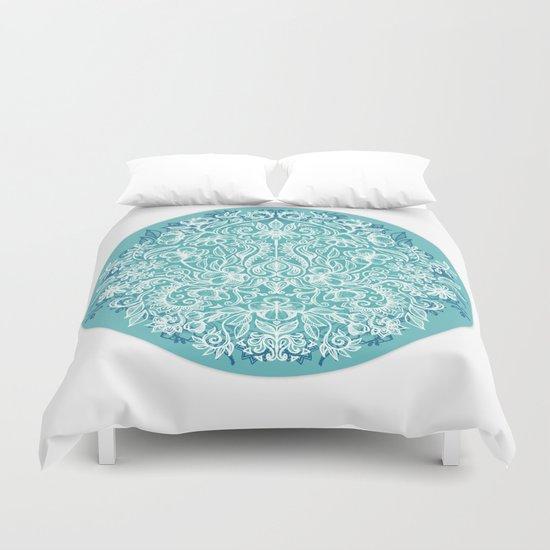 Spring Arrangement - teal & white floral doodle Duvet Cover