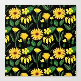 Sunshine yellow watercolor hand painted floral daisies Canvas Print