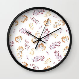 Watercolor orange brown botanical autumn floral Wall Clock