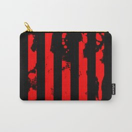 Blood Bars - Geometric, black and red stripes pattern, blood red, paint splat artwork Carry-All Pouch