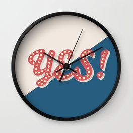 YES! Typography Print Wall Clock