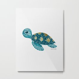 Cute Turquoise Sea Turtle Metal Print