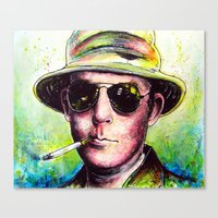 hunter s thompson Canvas Prints featuring Hunter S Thompson by Chuck Hodi