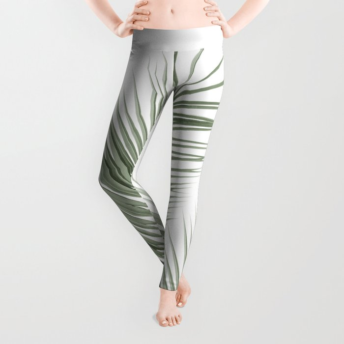 Olive Green Palm Leaves Dream - Cali Summer Vibes #1 #tropical #decor #art #society6 Leggings