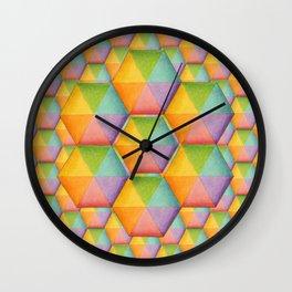 Rainbow Facets Wall Clock