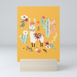 White Llama with flowers Mini Art Print
