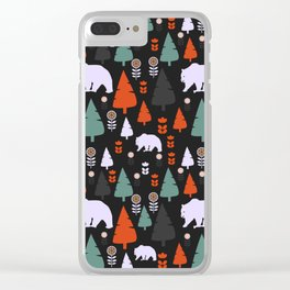 Bear forest at night Clear iPhone Case