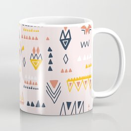 Vintage ethnic elements hand drawn on pastel background illustration pattern Coffee Mug