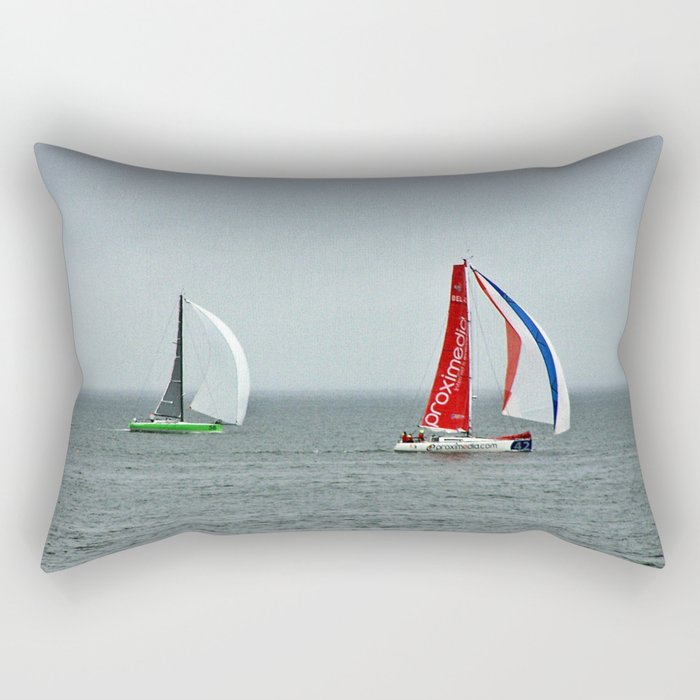part 4 of 4 of Sailing Battle 42-56  - Transat Quebec St-Malo Rectangular Pillow