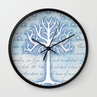 gondor Wall Clocks featuring Tree of Gondor by JadeJonesArt