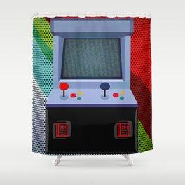 Retro Arcade Joystick Video Game Shower Curtain