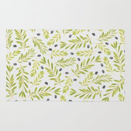 Watercolor Olive Branches Pattern Rug