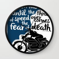 hunter s thompson Wall Clocks featuring Hunter S. Thompson Moto Girl  by Peated Proverbs