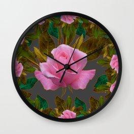 LEAFY PINK ROSE GARDEN & GREY PATTERNS ART Wall Clock