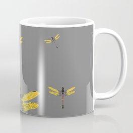 GOLDEN-RED DRAGONFLIES ON GREY Coffee Mug