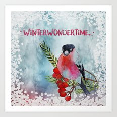 Winter Wondertime - Merry christmas- Little finch on branch-covered with snow Art Print