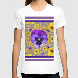 PUCE PANSIES YELLOW BUTTERFLIES & FLOWERS T-shirt