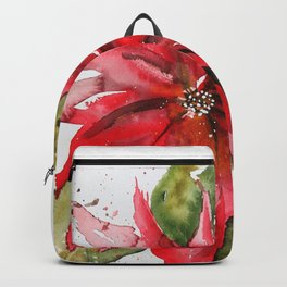 Bright Red Poinsettia Watercolor Backpack