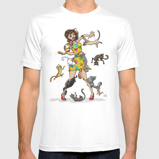 Girl in Trouble With Yarn Print Dress T-shirt