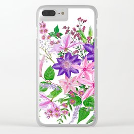 Bouquet with pink and violet clematis flowers Clear iPhone Case