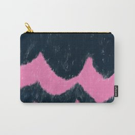 Watercolor navy blue aurora pink geometrical zigzag Carry-All Pouch