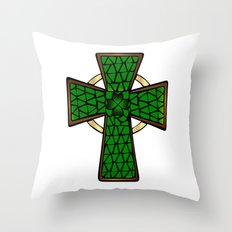 Shamrock Celtic Cross Throw Pillow