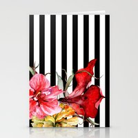flora Stationery Cards featuring FLORA BOTANICA | stripes by Cheryl Daniels