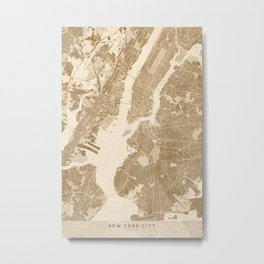 Vintage map of New York in sepia Metal Print