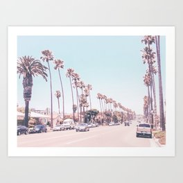 California Sidewalks // Blue Ocean Skyline Roadside Palm Trees Tropical Hollywood Paradise Art Print