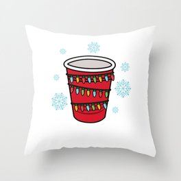 Holiday Cheer Red Solo Cup Christmas Beer Pong Throw Pillow