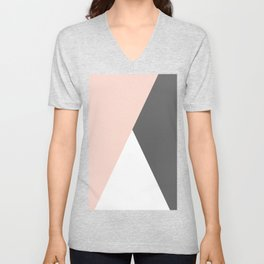Elegant blush pink & grey geometric triangles Unisex V-Neck