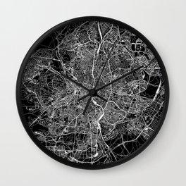 Madrid Black Map Wall Clock