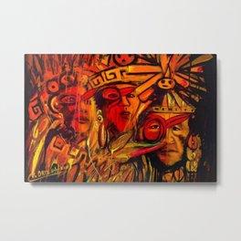 Indigenous Inca Tribes People portrait painting by Ortega Maila Metal Print
