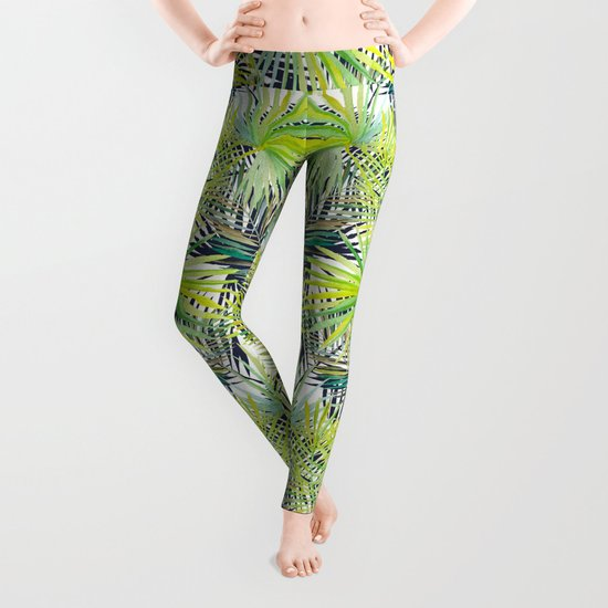 Tropical Frond Pattern Leggings