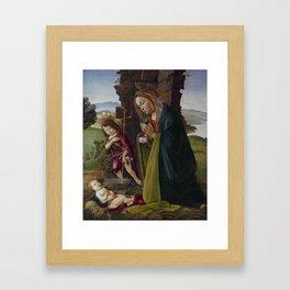 """Sandro Botticelli """"Adoration of Christ with Saint John"""" Framed Art Print"""