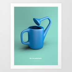 The Uncomfortable Watering can in mint coloured background Art Print