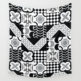 Black & White Mixed Square Tiles Patterns Wall Tapestry