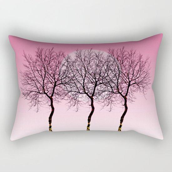 Triplet trees in pink Rectangular Pillow