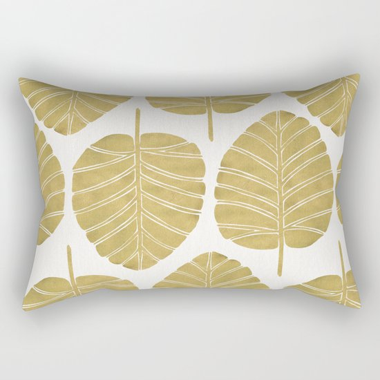 Elephant Ear Alocasia – Gold Palette Rectangular Pillow
