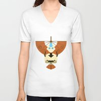 airbender V-neck T-shirts featuring Yip Yip by Ashley Hay