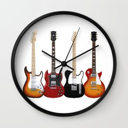 Four Electric Guitars Wall Clock