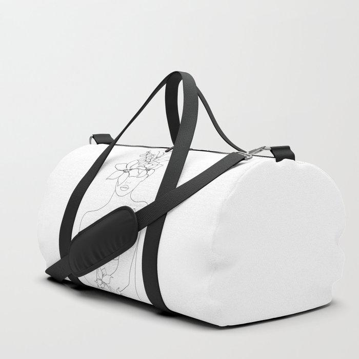 Minimal Line Art Woman with Flowers IV Duffle Bag