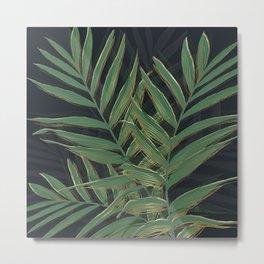 Trendy Green Palm Leaves Gold Strokes Gray Design Metal Print